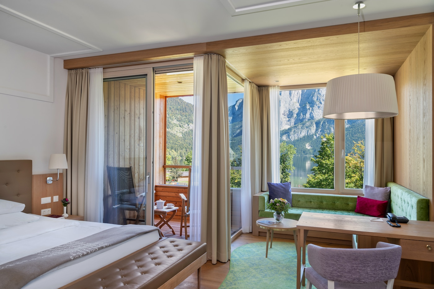 bright and cosy bedroom in Deluxe room lake view VIVAMAYR Altausee