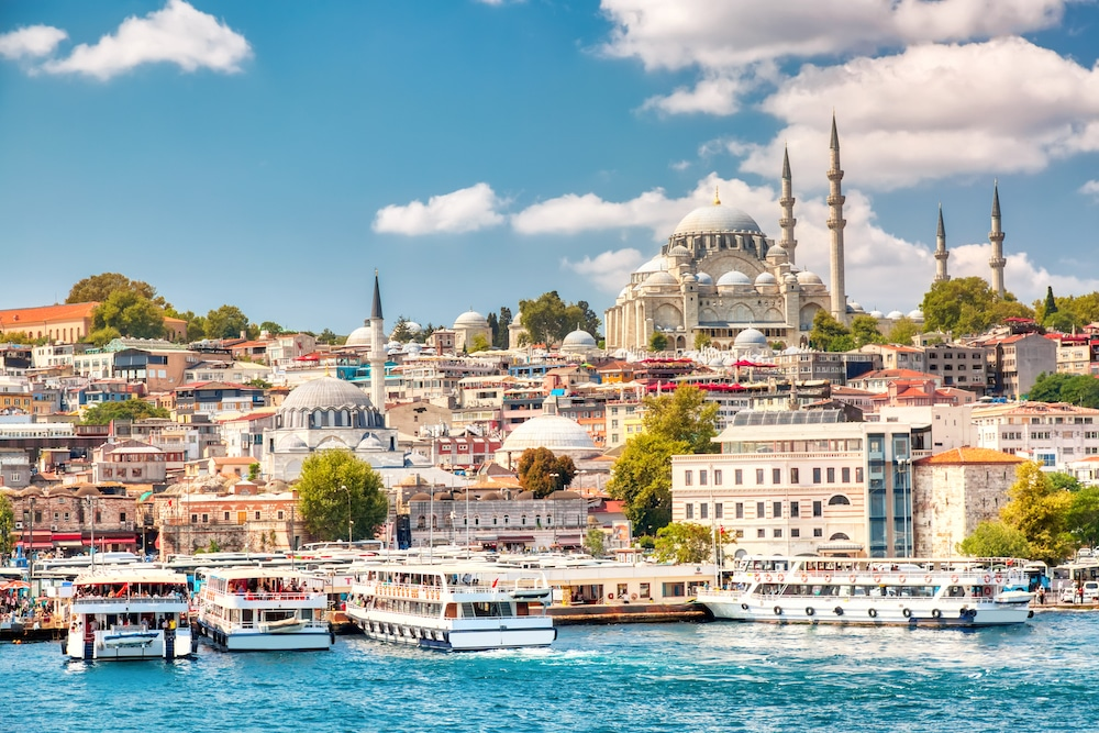 City of Istanbul by the Mediterranean Sea with mosque in Turkey