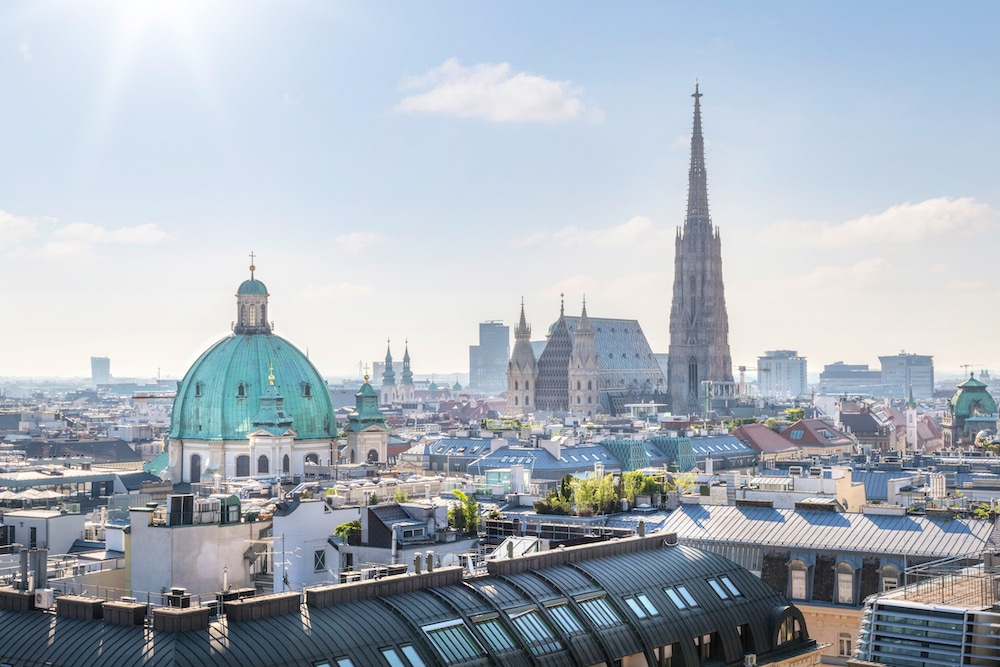 Panoramic view of Vienna's first district with Stephansdom and Karlskirche in Austria