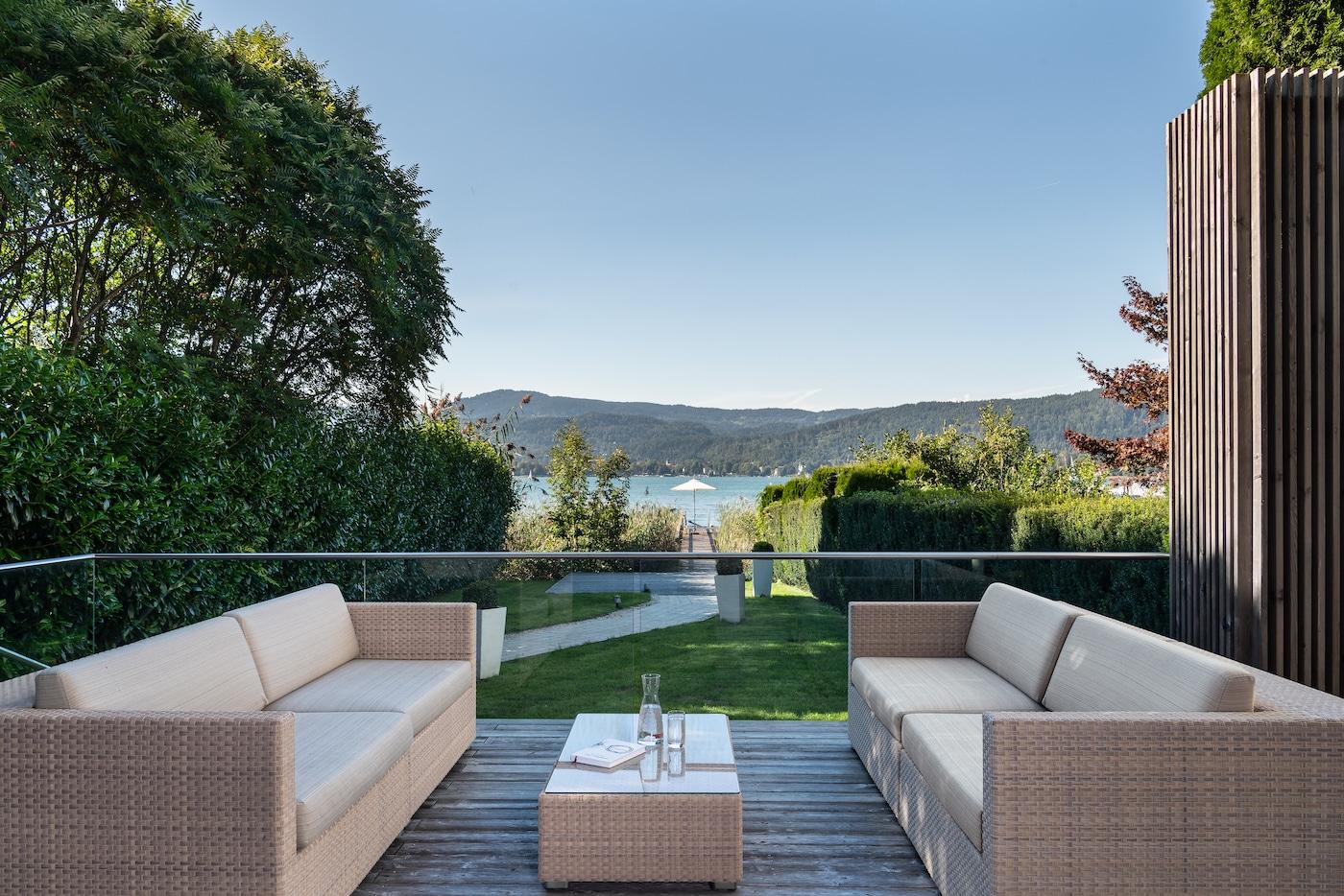 modern terrace at Villa VIVAMAYR Maria Wörth