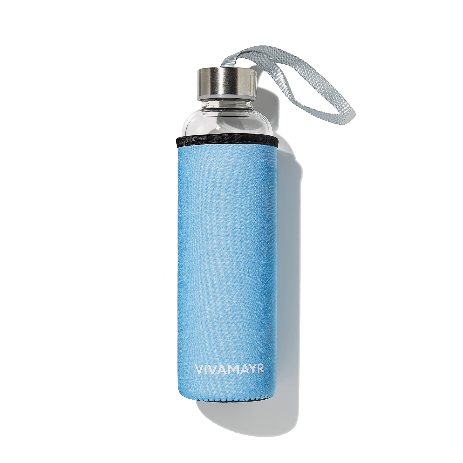 VIVAMAYR Glass Drinking Bottle Light Blue