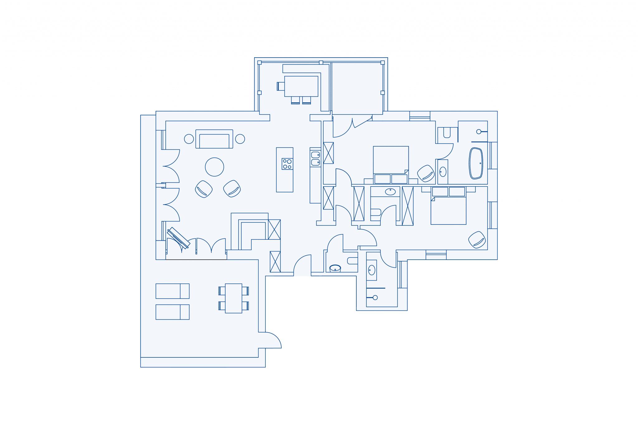 Room layout park residence 120 at VIVAMAYR Altaussee