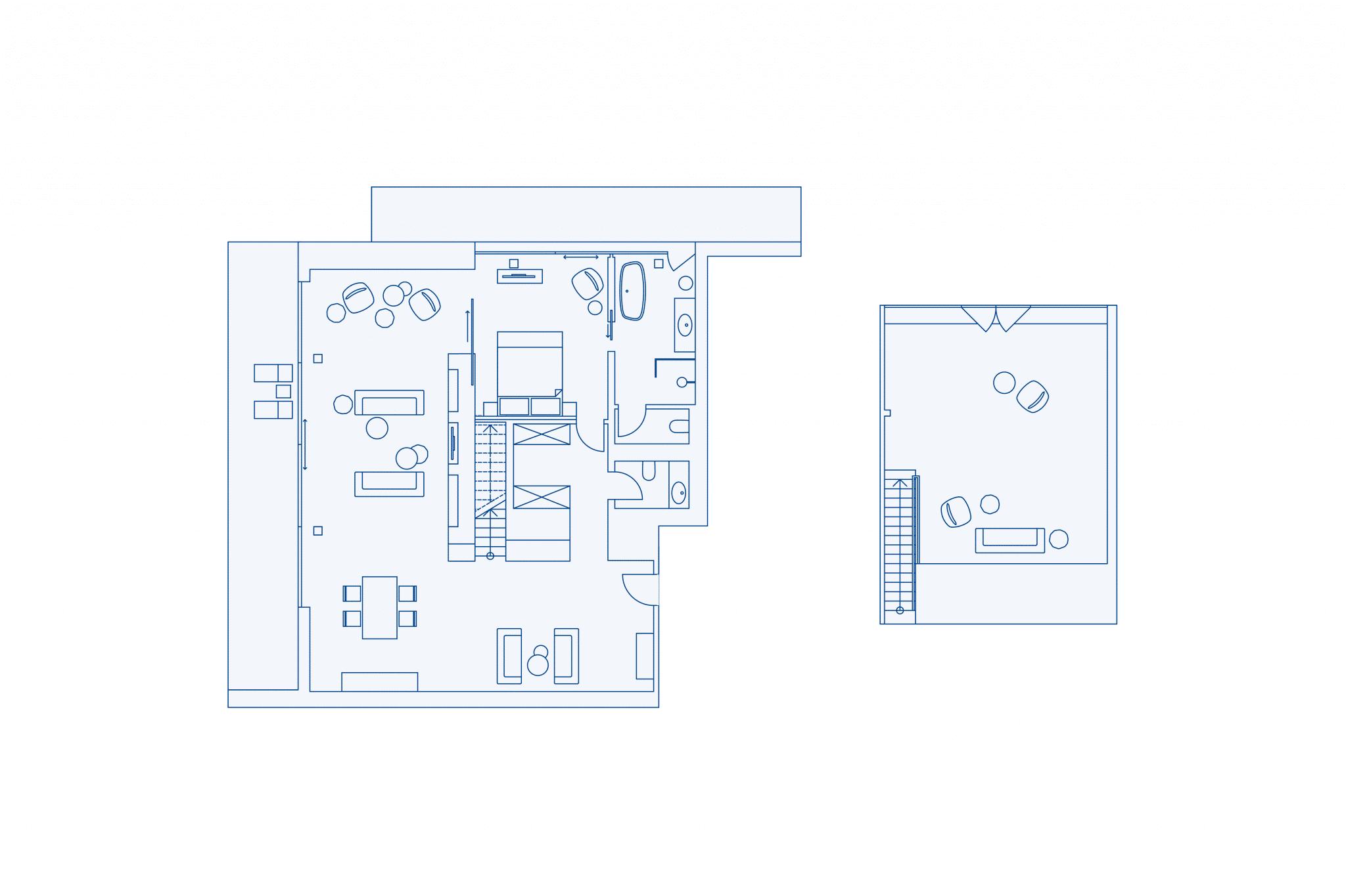 Room layout president suite at VIVAMAYR Altaussee