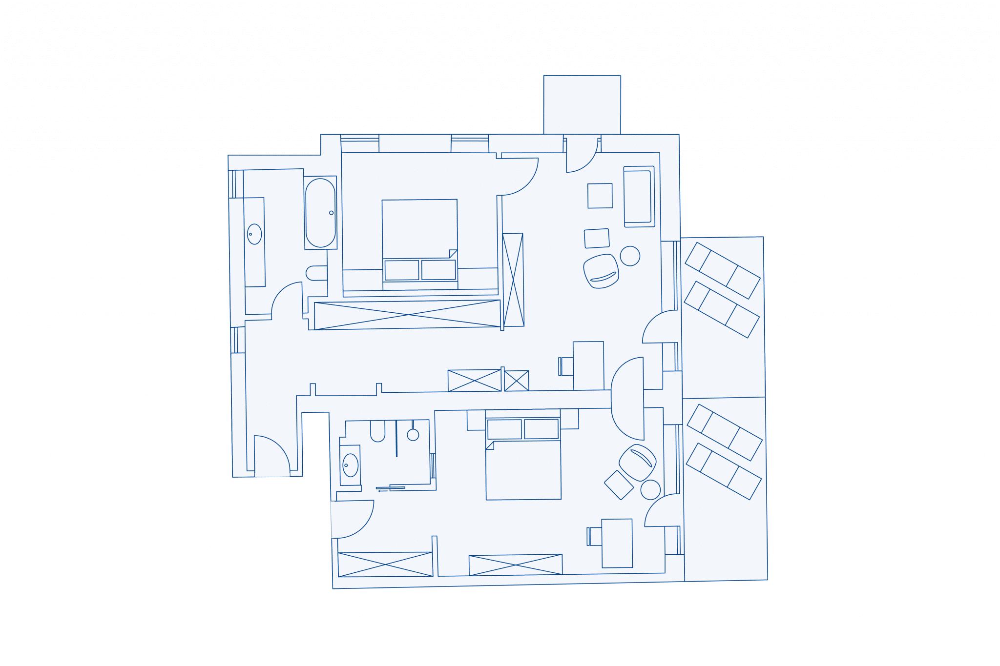 Room layout suite at VIVAMAYR Maria Wörth