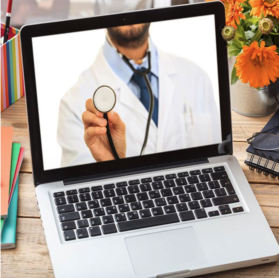 Laptop with picture of doctor in it